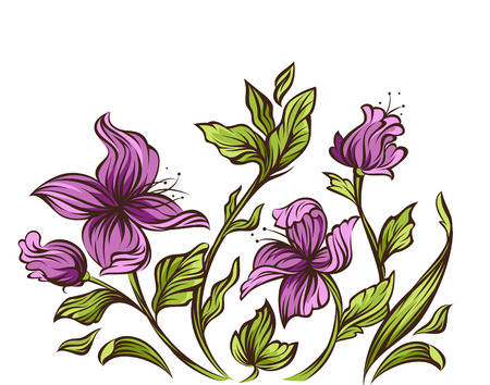 purple lilac: Floral design  Illustration