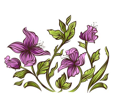 purple lilac: Floral design  Illustration