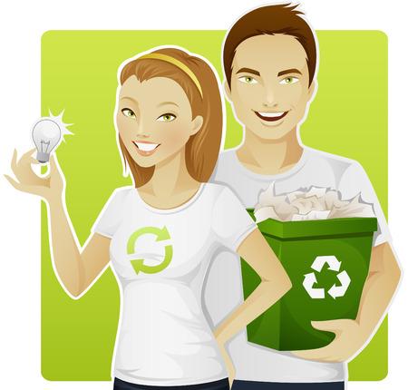 afvalbak: Eco-vriendelijke mensen