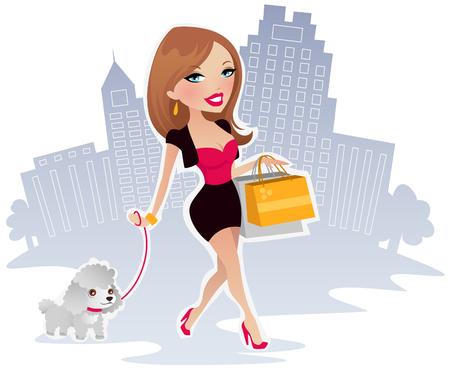 Happy shopping vrouw  Stock Illustratie