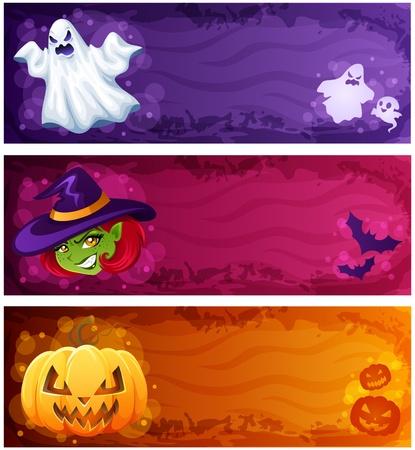 ghost face: Halloween banner set Vettoriali