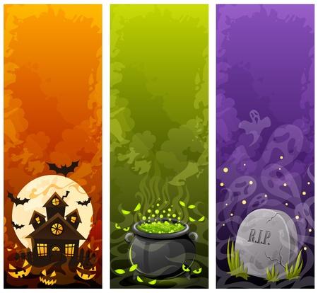 calabaza caricatura: Banners de Halloween Vectores