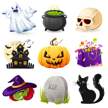 casita de dulces: Conjunto de iconos de Halloween Vectores
