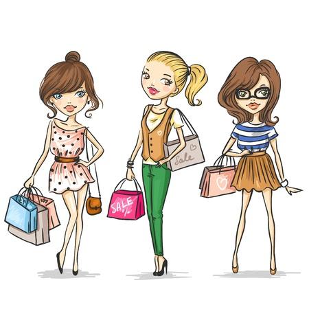 ni�os de compras: Chicas de moda Vectores