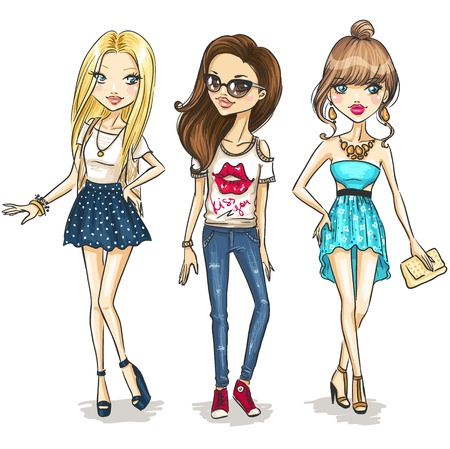 blonde teenage girl: Fashion girls Illustration
