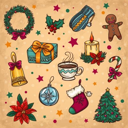 adornos navideños: La decoración de Navidad y las cosas de invierno Vectores