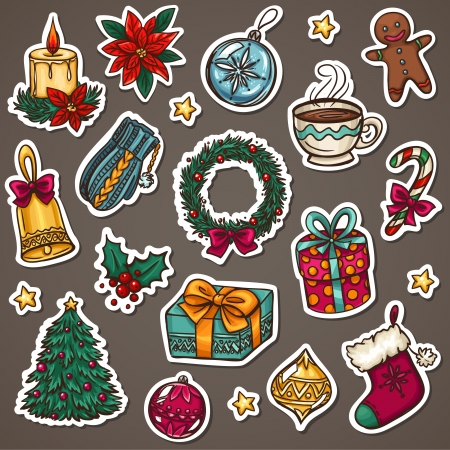 Christmas icon set of xmas decorations and winter things  Vectores