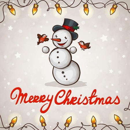 Snowman greeting card Merry Christmas Vector