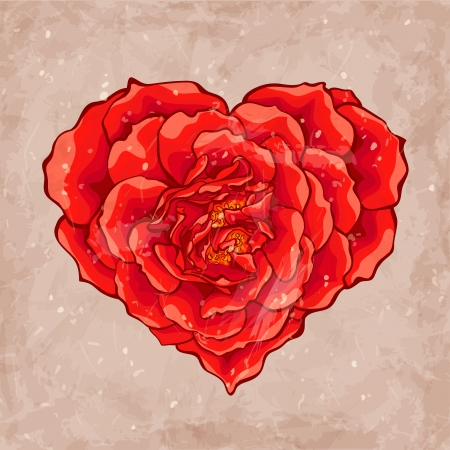 Red rose heart Vector