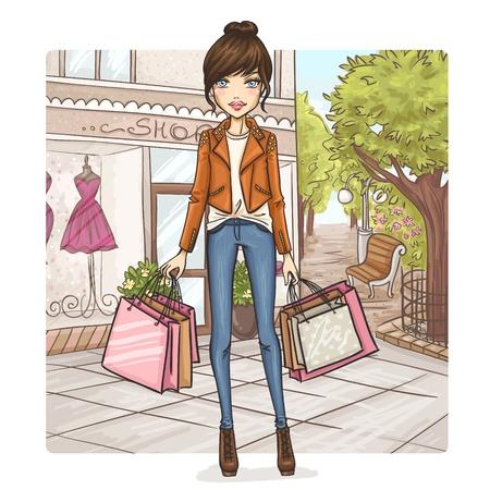 шопоголика: Мода девушка в торговых Иллюстрация