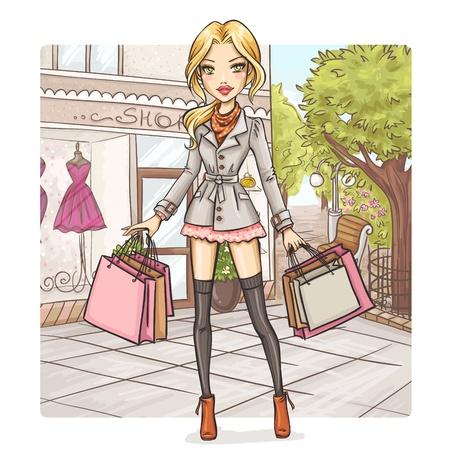 ショッピングのファッションの女の子