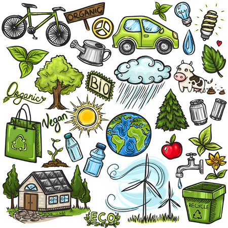 Doodles eco icon set Vector
