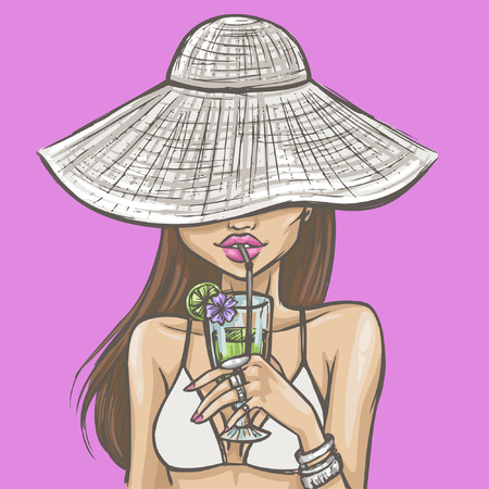 Sexy girl in hat drinks a cocktail