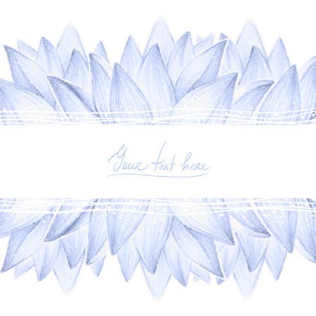 Blauwe lotus bloemblaadjes ontwerp kaart