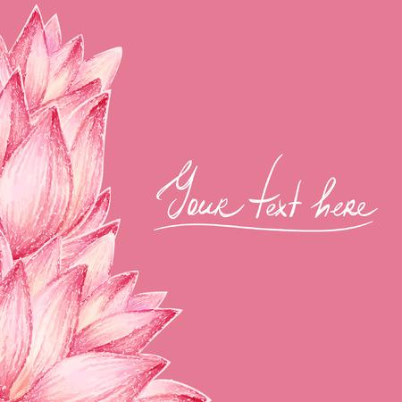 Roze lotus bloem ontwerp kaart Stock Illustratie