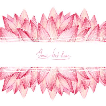 Pink lotus flower design card Vector