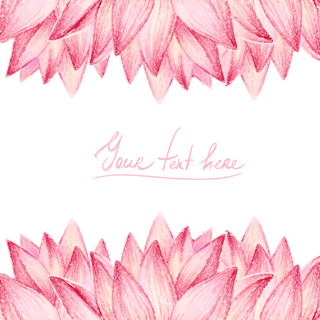Pink lotus flower design card Vector