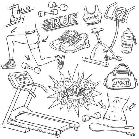 workout gym: Gym doodles set Illustration