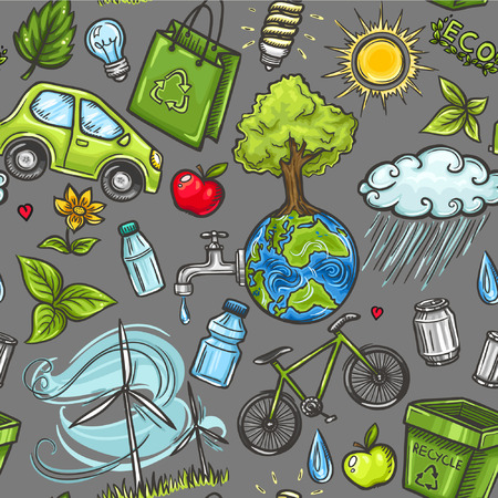 Doodles eco icon seamless Vector