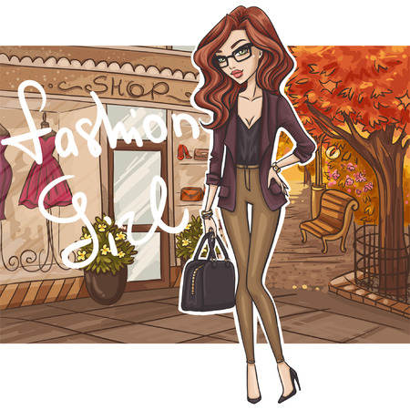 beautiful girl cartoon: Fashion girl in stylish outfit