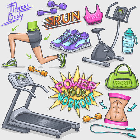 Colorful gum and fitness doodles Vectores