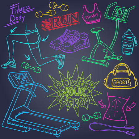 workout gym: Gym and fitness doodles set