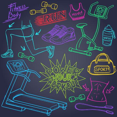 Gym en fitness doodles set Stock Illustratie