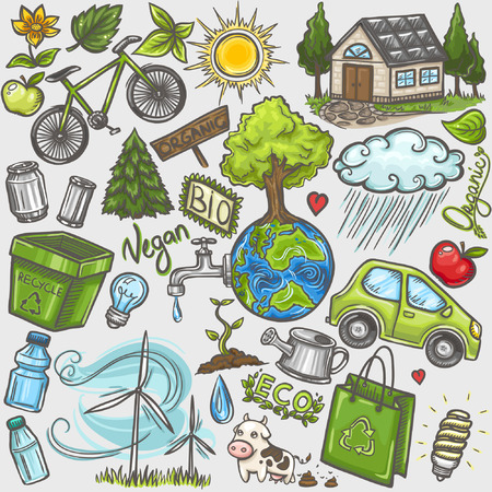 Doodles eco icon set Illustration