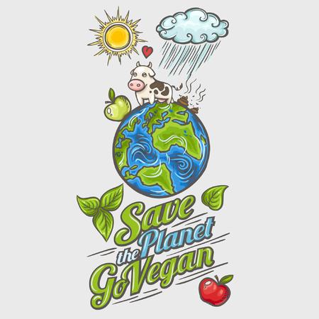 Ahorre planeta - concepto de diseño del cartel