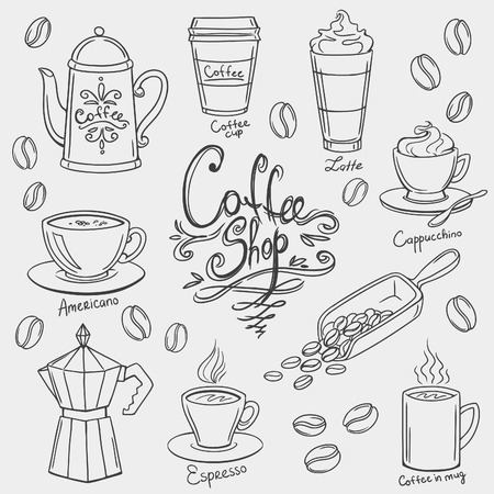hand shovel: hand drawn coffee doodles set