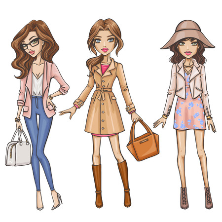 happy teenagers: Fashion girls Illustration