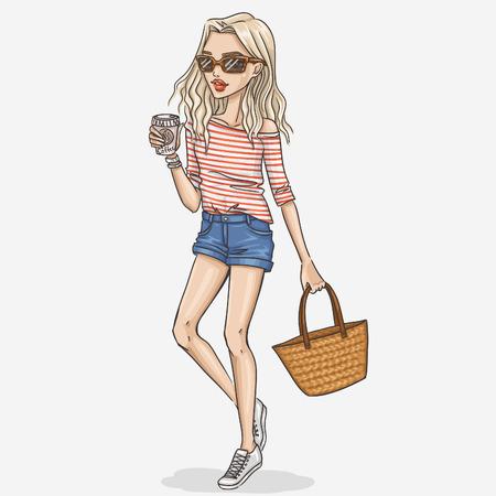 femme blonde: Main mode dessinée fille illustration