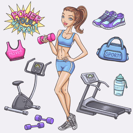 Fitness girl and gum and fitness doodles
