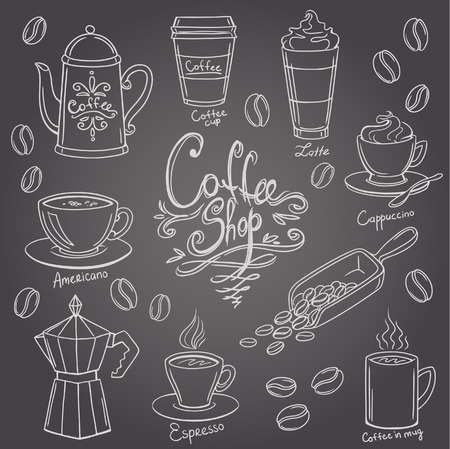 hand drawn coffee doodles set