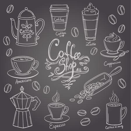 Hand getekende koffie doodles set Stockfoto - 40276942