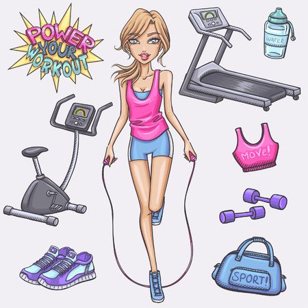 gym girl: Fitness girl and gum and fitness doodles