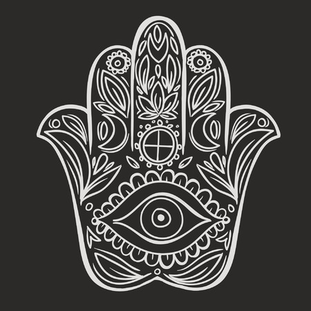 evil eye: Hamsa hand doodle symbol Illustration