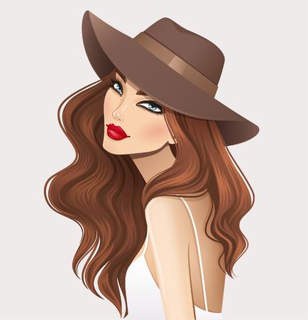belle brunette: Belle fille dans le chapeau