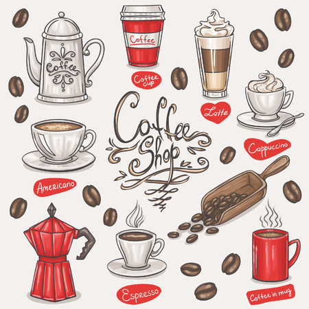 coffee beans background: hand drawn coffee doodles set