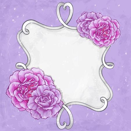 borders plants: Beautiful roses frame card Illustration