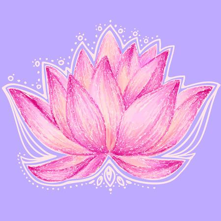 美しい蓮の花のイラスト  イラスト・ベクター素材