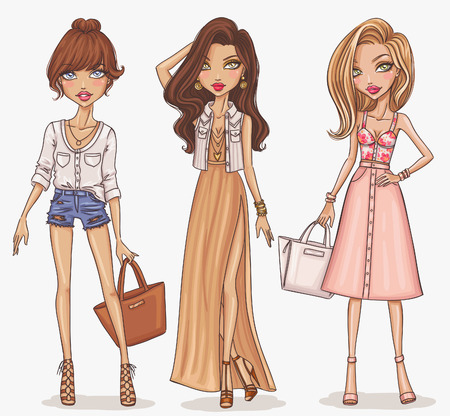 bag cartoon: Beautiful and stylish fashion girl set Illustration