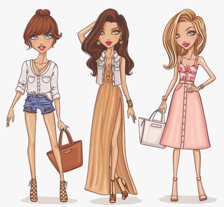 mujer elegante: Sistema de la muchacha hermosa de la manera y con estilo
