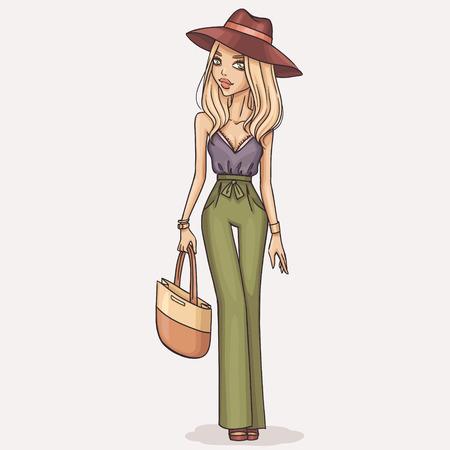 手描きファッション女の子イラスト  イラスト・ベクター素材