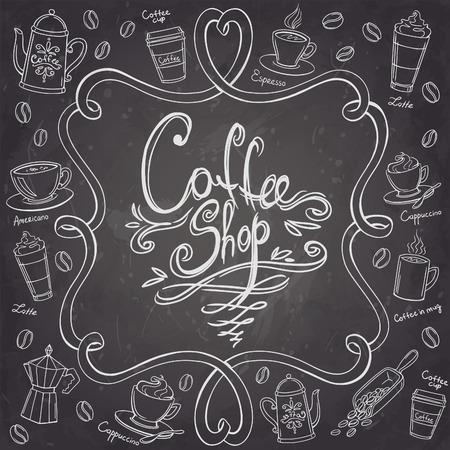 Koffiebar frame. Gestileerde krijtbord koffie achtergrond. Vector illustratie. Stock Illustratie