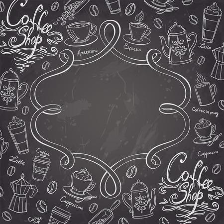 Coffee shop design frame. Stylized chalkboard coffee background. Vector illustration. Banco de Imagens - 41238394