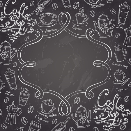 machine shop: Coffee shop design frame. Stylized chalkboard coffee background. Vector illustration.