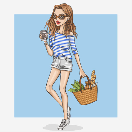 Hand drawn shopping girl illustration Vettoriali