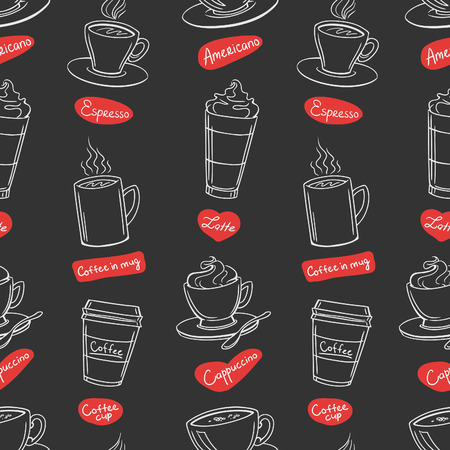 lines pattern: Coffee shop design seamless background. Stylized coffee pattern. Vector.