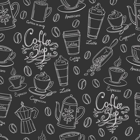 Koffie winkel ontwerp naadloze achtergrond. Gestileerde koffiepatroon. Vector. Stock Illustratie